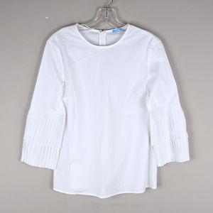 J. McLaughlin | White Ruffle Sleeve Blouse